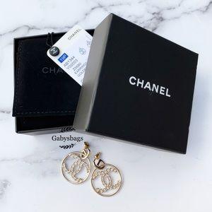 Chanel Logo Hoop Earrings